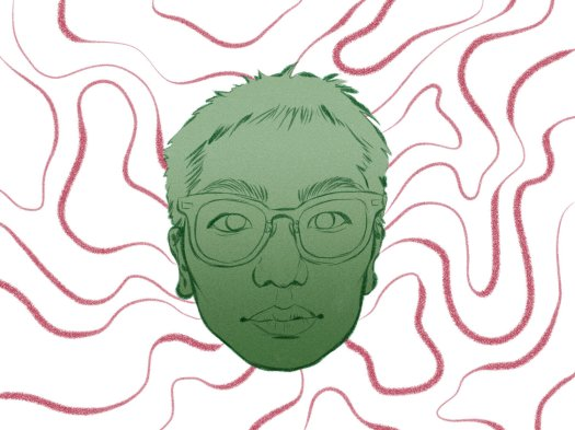 Drawing of a face wearing glasses, coloured green, on a background of red flowing lines.