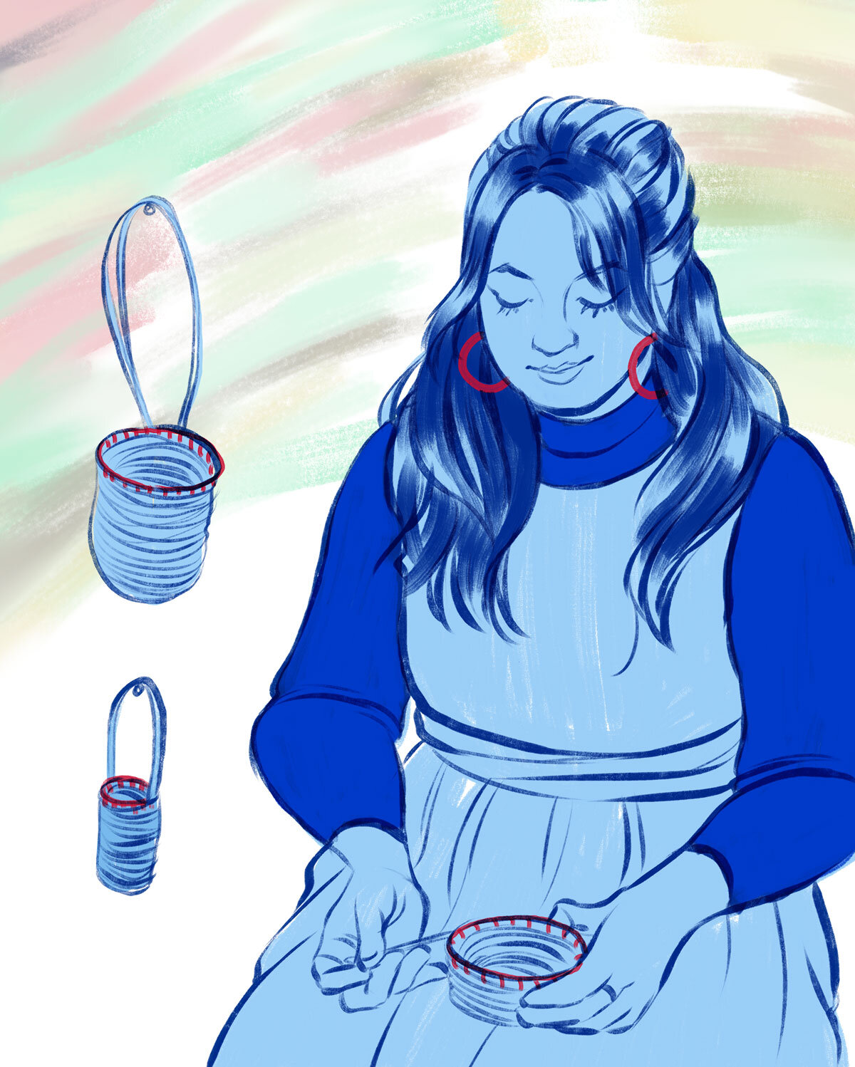 Jenna Lee weaving a basket, illustrated by Viet-My Bui in different blue tones.